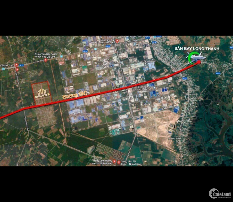 Đất nền sổ hồng , thổ cư 100% - Nhơn Trạch, Đồng Nai, Khu đô thị Mega City 2