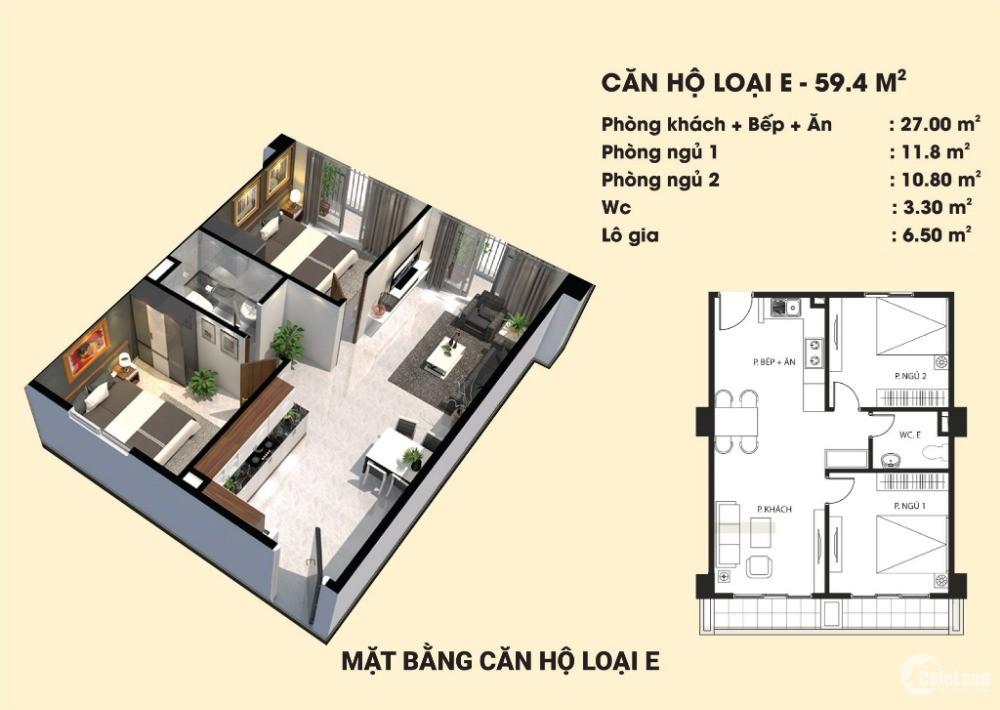 Căn hộ 42m2 - 2 phòng ngủ, sổ riêng biệt cách bến xe Giáp Bát 8km giá 700 triệu,