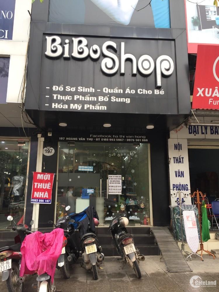 Cho thuê toàn bộ tầng 1 SN 197 đường Hoàng Văn Thụ, TP Thái Nguyên