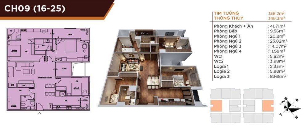 Căn hộ cao cấp siêu to khổng lồ, 4PN 3VS dự án HC Golden City