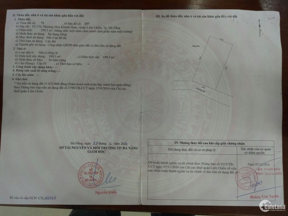 Bán nhanh đất sổ đỏ Hoàng Văn Thái 200m2 giá chỉ 2.1 tỷ