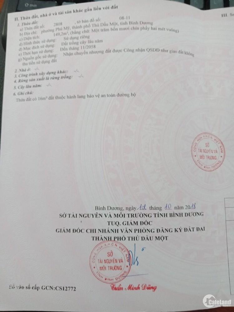 Đất Phú Mỹ TP Thủ Dầu Một 149m2,dân cư sầm uất, giá tốt