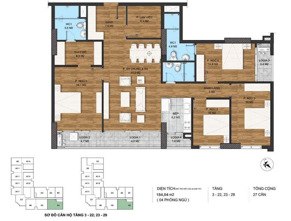 Bán gấp căn hộ 4 ngủ trực tiếp CĐT, 154 m2. Ban công Đông Nam