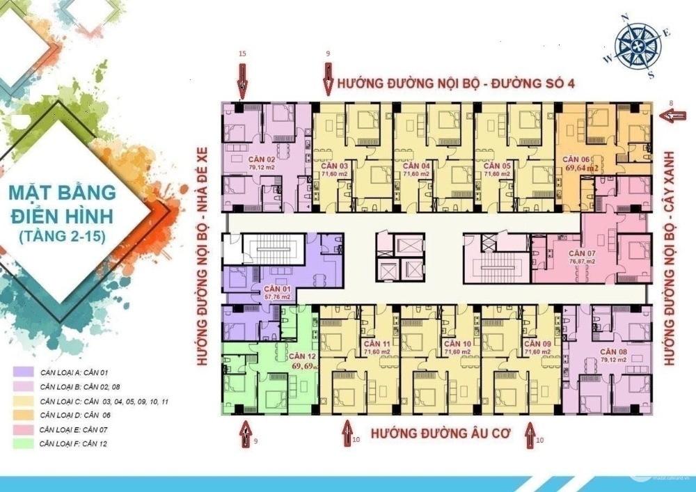 Căn góc 70 m2 2 PN, 2wc, phòng khách, bếp và logia