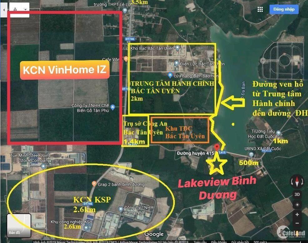 Đất nền Bắc Tân Uyên sổ hồng riêng ngay khu công nghiệp KSIP - KSB và view hồ