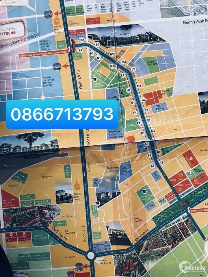 Chuyên Đất Mặt Tiền Đường Nguyễn Văn Linh, TTHC Huyện Chơn Thành 0866713793