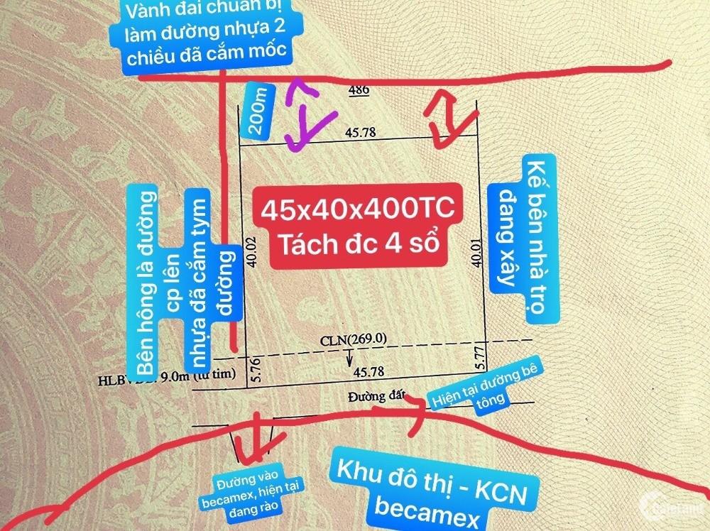 Đất 2 Mặt Tiền Ngay  Cổng Khu Đô Thị Becamex - KCN Becamex Lớn Nhất Bình Phước