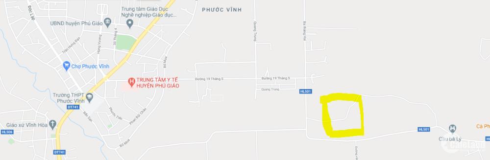 Bán 536m2 đất ngay trung tâm thị trấn Phước Vĩnh, Phú Giáo giá 1,5 tỷ