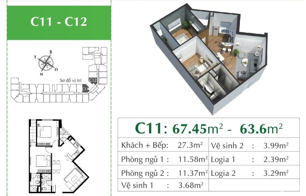 Bán nhanh căn hộ 2PN 2VS tại CT21B EcoCity Việt Hưng