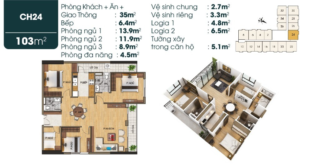 Bán chung cư căn góc 3 ngủ giá chỉ 2,5 tỷ, vị trí mặt đường Sài Đồng