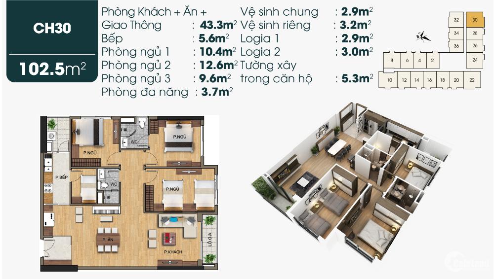 Chỉ còn 3 suất Ngoại Giao căn hộ 3 ngủ góc cực thoáng tại Sài Đồng