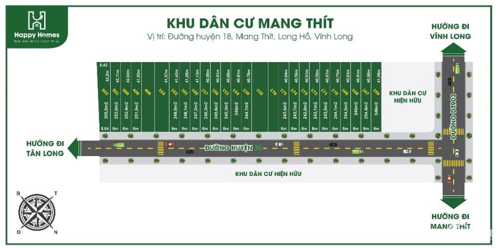Nền Phân Lô_Xã Tân Long_Mang Thít_VL Giá Rẻ 1.5tr/m2