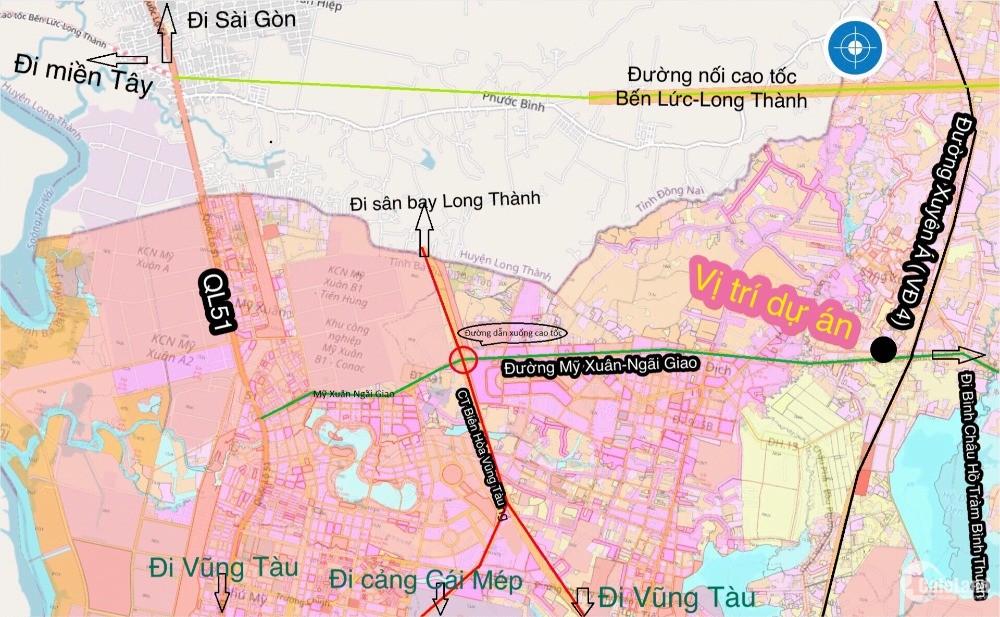 Bán đất nền Phú Mỹ BRVT đường Song Hành- Mỹ Xuân Ngải Giao - 3tr/m2 0936122125