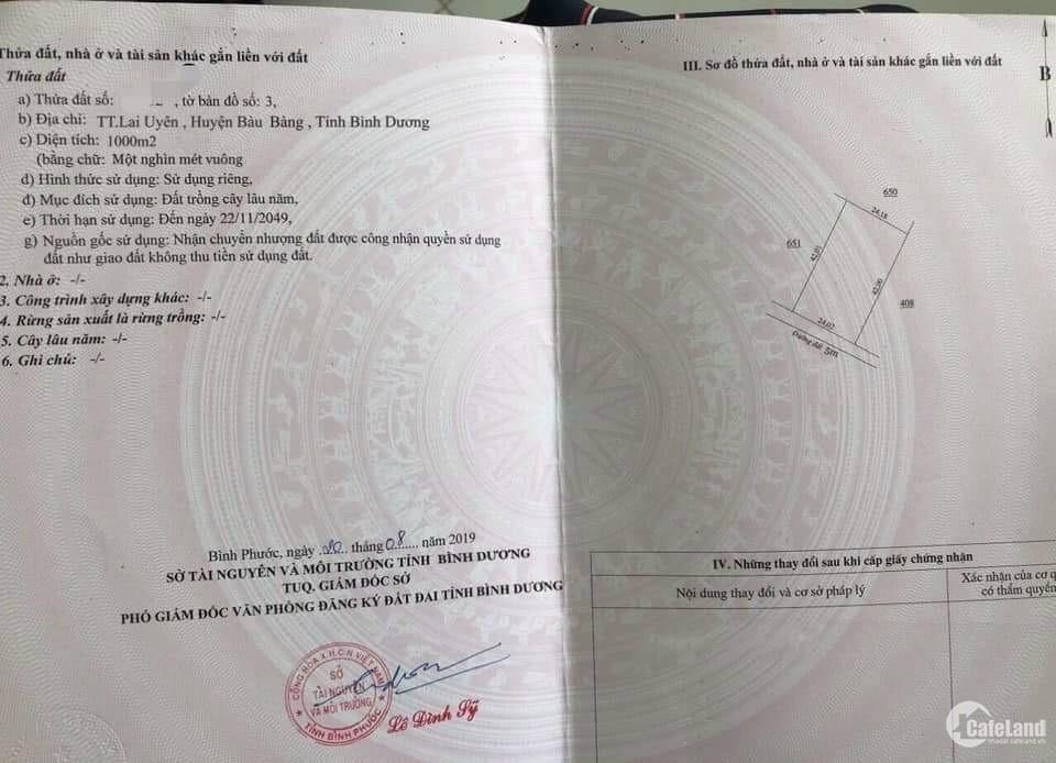 1000m2 Thị Trấn Bàu bàng giá 420 triệu bao sổ