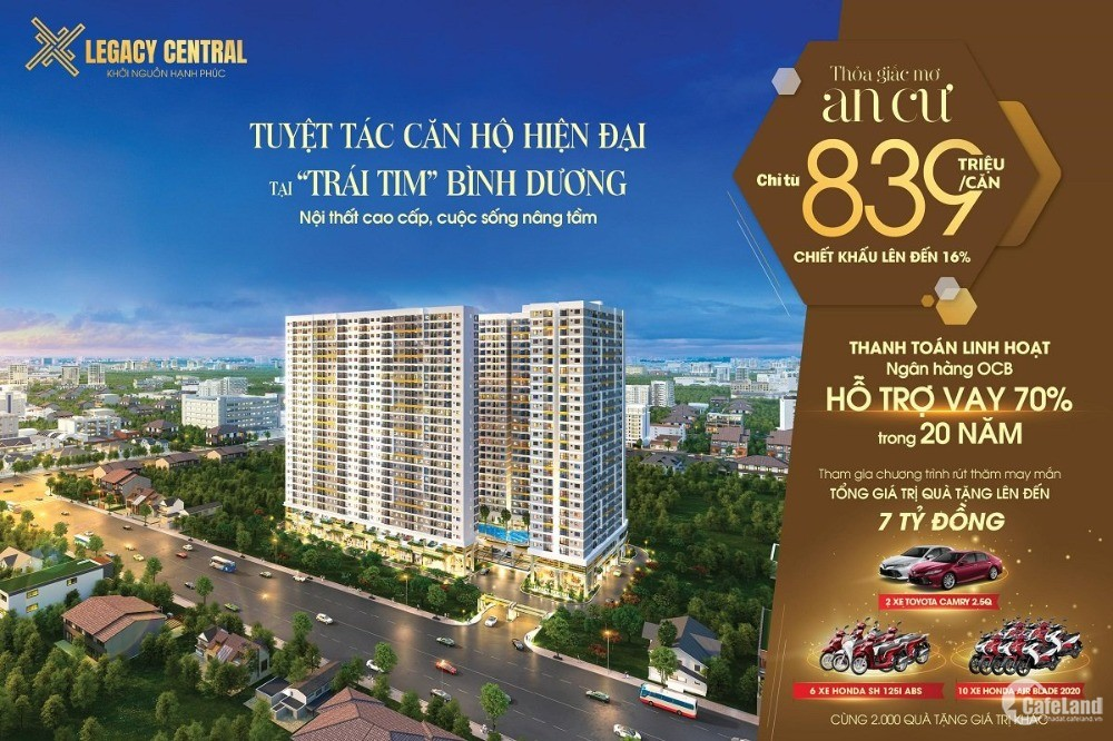 Căn hộ Legacy Central đẹp nhất Thuận An, TT 20% nhận nhà LH: 0966.113.779