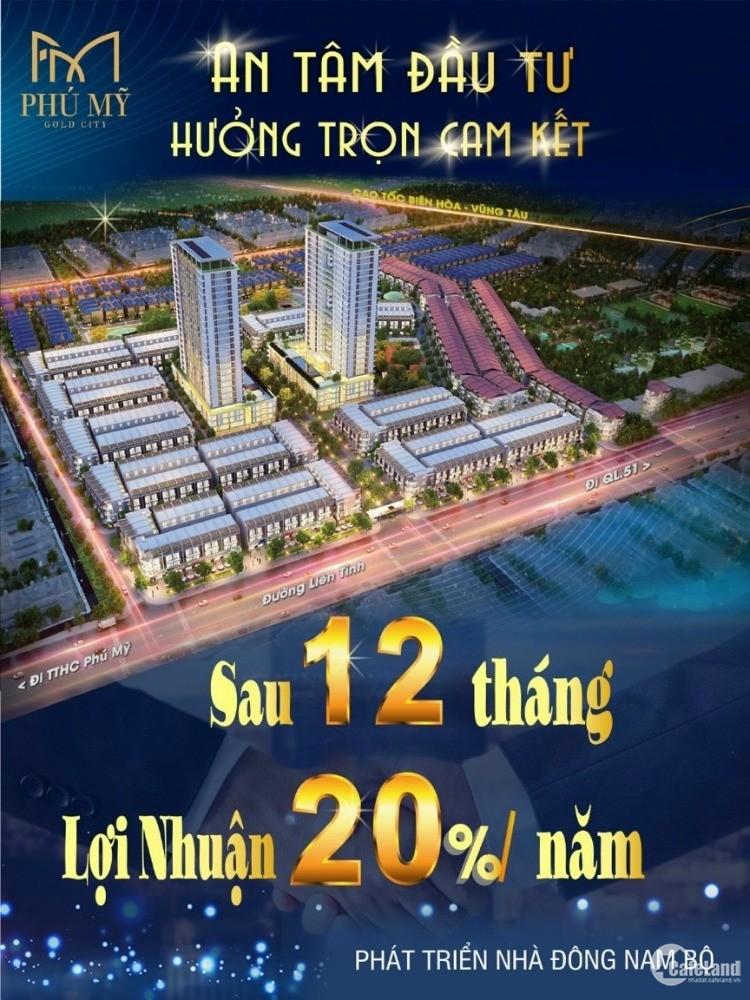 Chỉ Còn Vài Suất Nội Bộ Dự Án Đất Nền Phú Mỹ Gold City, Cam kết Lợi Nhuận 20% tr