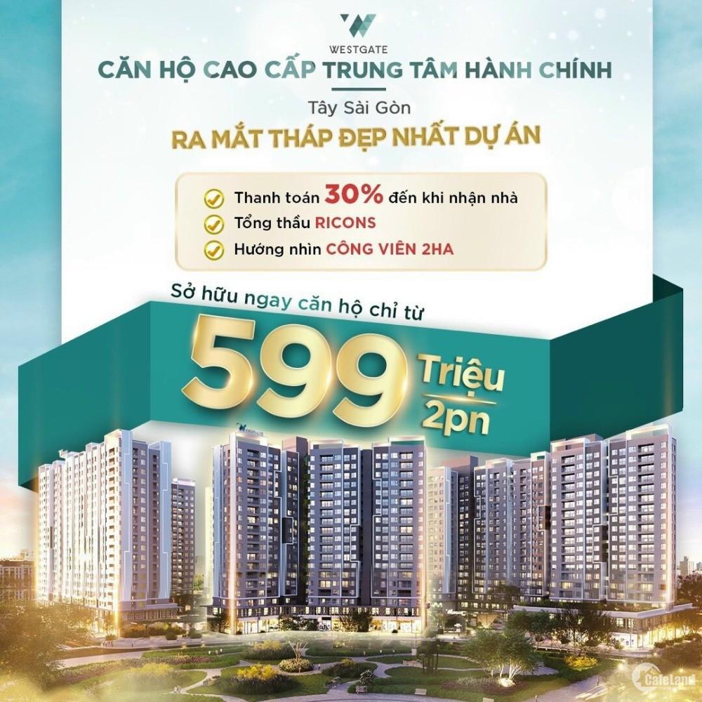 Bán căn hộ 2PN 2WC ngay TTHC Bình Chánh - thanh toán 599tr - góp 1%/tháng