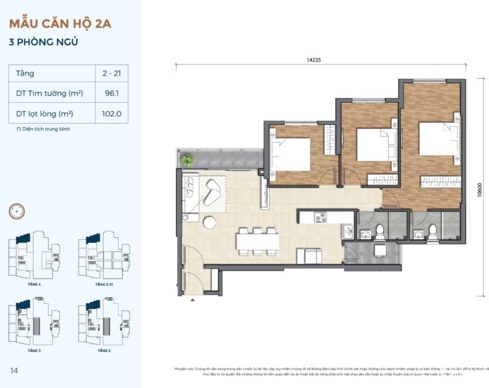 Precia căn hộ 3PN - 96m2 và 101m2 giỏ hàng chủ đầu tư, hỗ trợ vay NH lãi suất 0%