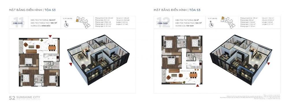 Chính chủ cần bán gấp giá cắt lỗ sâu căn hộ tòa S3 tầng 26 Sunshine City Ciputra