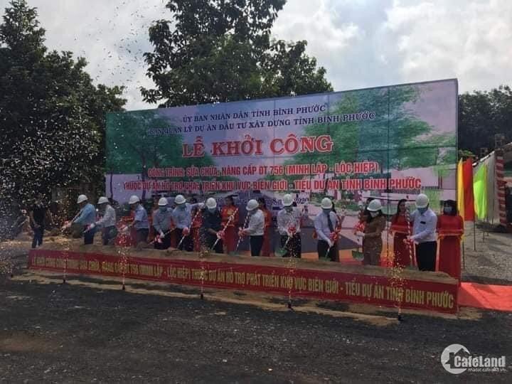 Bán 2 lô mặt tiền đường nhựa DT756 Rộng 32m, Gần Chợ Minh Lập, Chơn Thành