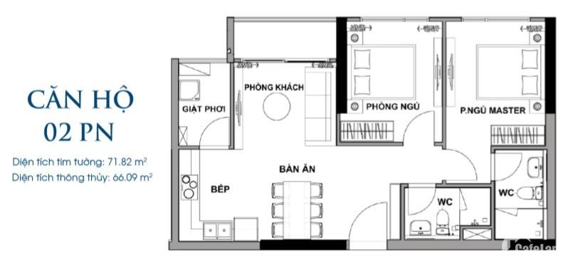 Tầng 5-27 Hướng Đông Nam, Chiết khấu 4%, The Rivana 2PN-70m2- 31Triệu/m2,Trả 2.5