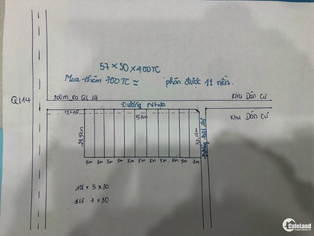 Bán Đất 2 Mặt tiền Nhựa  56x30x400TC - cách QL14 chỉ 300m Giá 75Tr/m Mặt tiền.