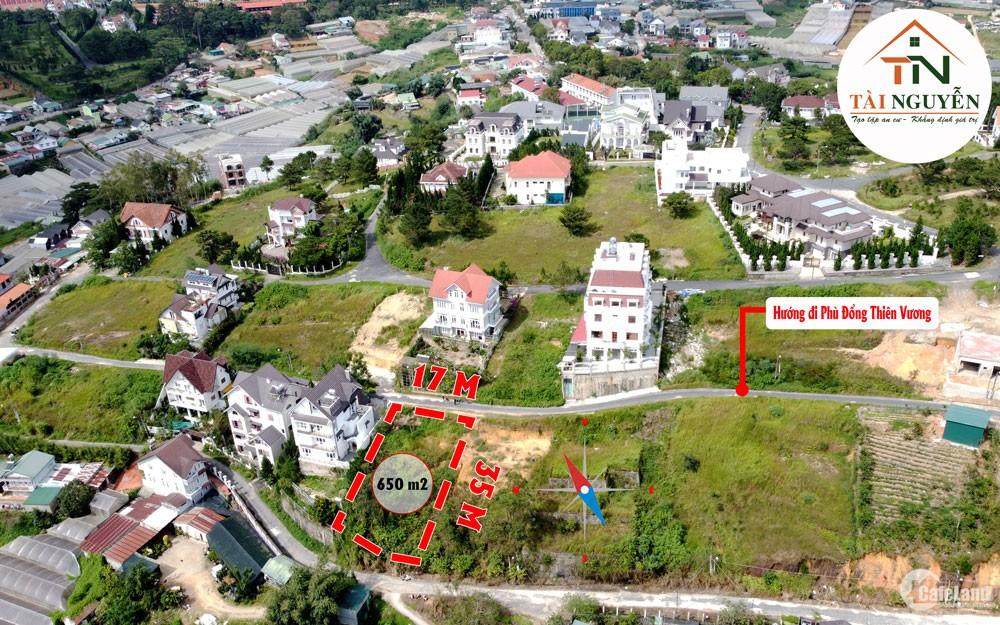 Bán gấp lô đất 2 mặt tiền 650 m2, khu biệt thự VIP đồi Huy Hoàng, P.8, Đà Lạt