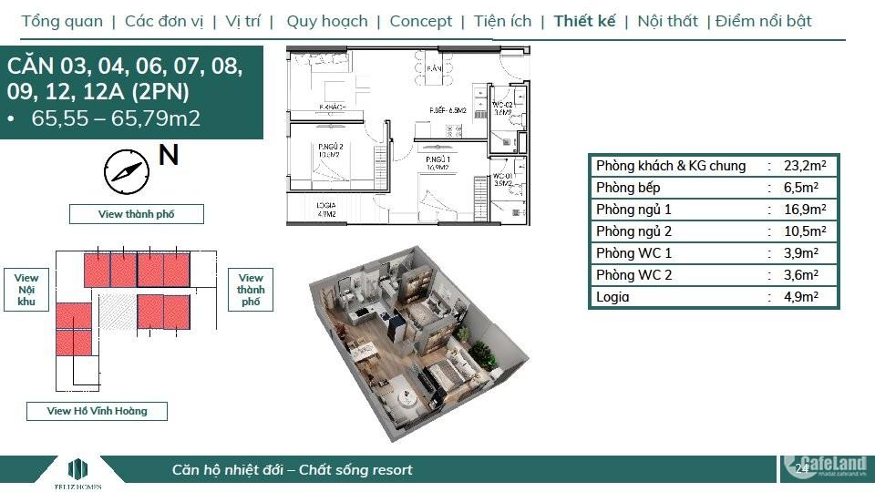 Bán căn 2PN đẹp nhất dự án Feliz Homes giá 2 tỷ, hướng Đông Nam diện tích 65m2