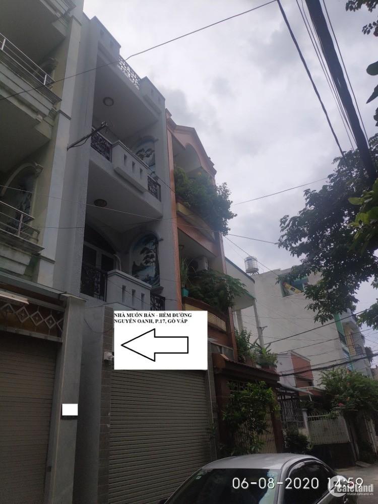 Bán nhà Hẻm 7m đường Nguyễn Oanh, p.17, Q.GV, dt 60m2, 1 trệt, 2 lầu, giá 5tỷ600