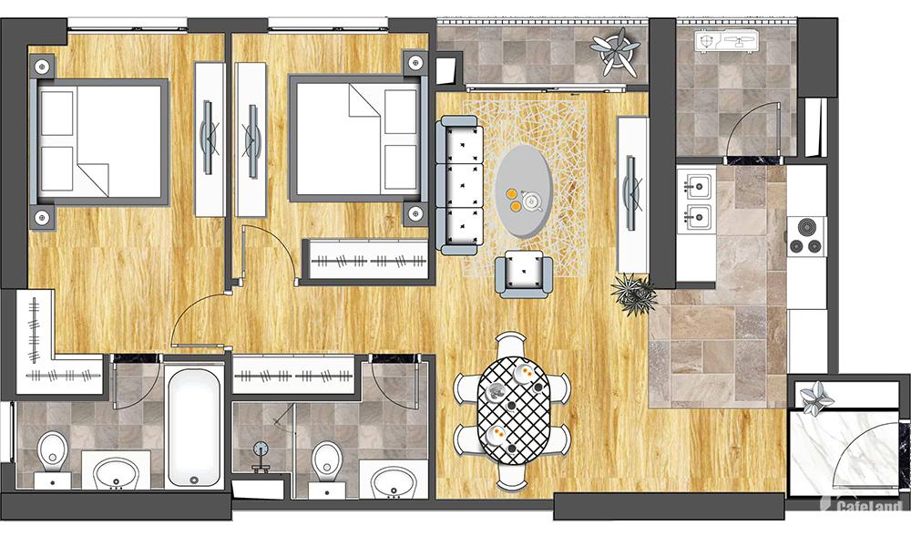 Mình cần bán nhanh căn hộ 1508 tòa 6Th Element – 87m2 - 2PN – có sổ đỏ.