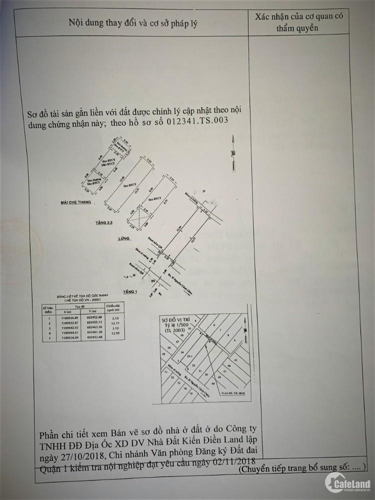 Cần bán nhà  35/12A Đường Nguyễn Cảnh Chân, p Cầu Kho, Quận 1