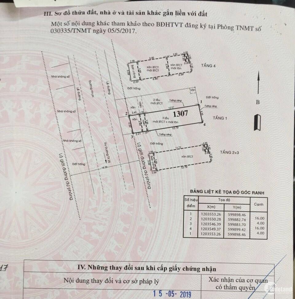Bán nhà MT Ba Phụ, TX25 (1 trệt, 3 lầu, 4 P. Ngủ) sân xe hơi. Giá: 4.6 tỷ