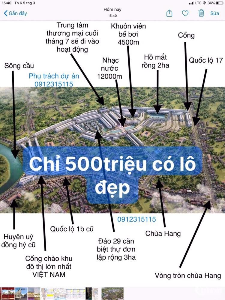 500tr sở hữu lô view đẹp nhất KĐT Cao cấp