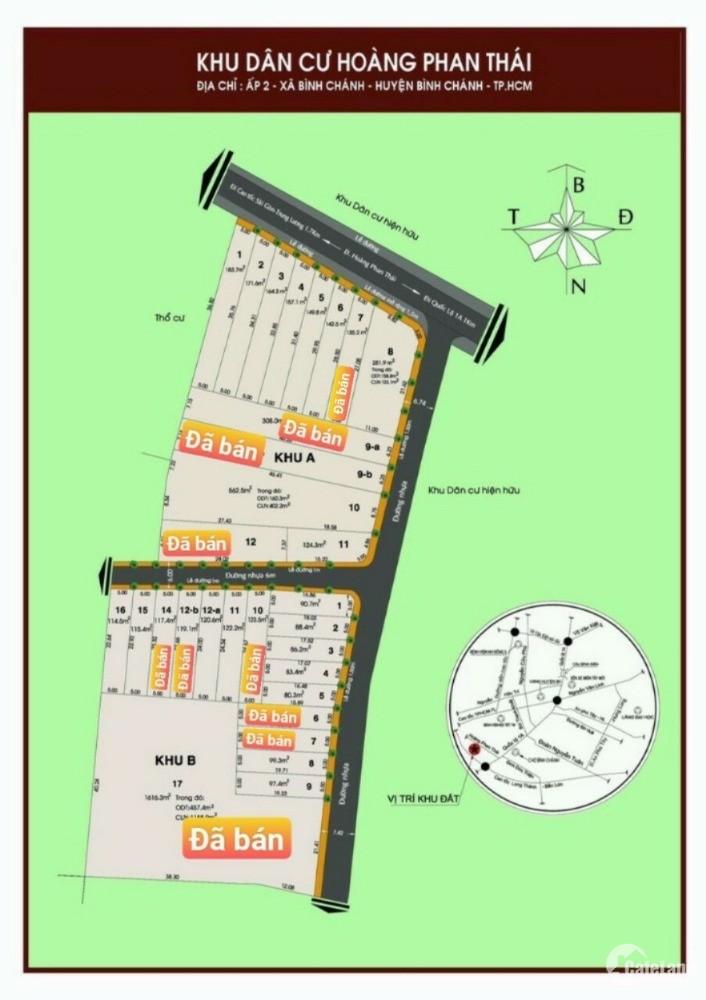 Đất mặt tiền Hoàng Phan Thái huyện Bình Chánh giá chỉ 19 triệu/m2
