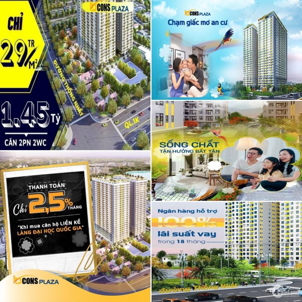 Bcons plaza căn hộ cao cấp thanh toán chỉ 500tr đến khi n hận nhà.CK ngay 7%.