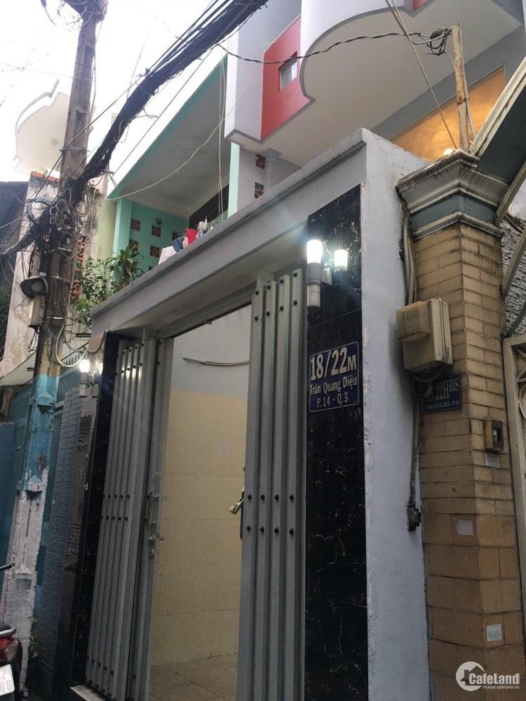 Chủ nhà kẹt tiền bán gấp nhà hẻm 3m: 18/22M Trần Quang Diệu, phường 14, quận 3