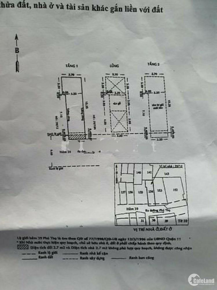 hàng Ngon cần Bán nhà hẻm 5m Phú Thọ, quận 11, hẻm đẹp 4,78 tỷ - 36 m² Quận 11,
