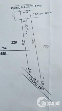 Bán đất mặt tiền DT749B xã Minh Hòa, Dầu Tiếng, Bình Dương. Diện tích 655m2(15x9