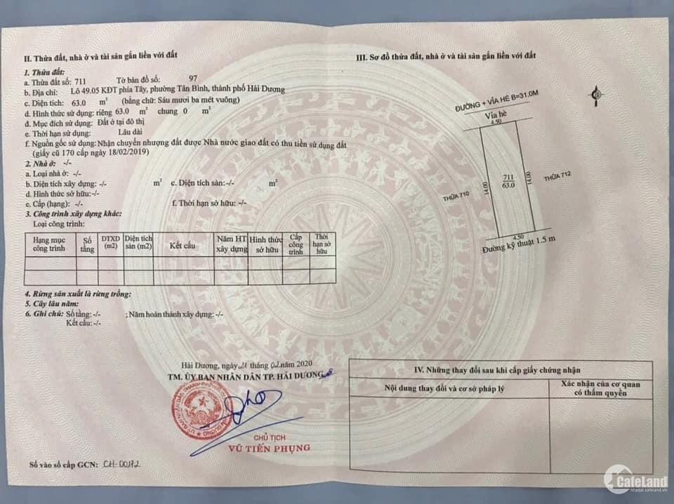 Bán đất đường đôi Nguyễn Đình Bể, KĐT An Phú, TP HD 63m2, mt 4.5m, 2 tỷ 650 triệ
