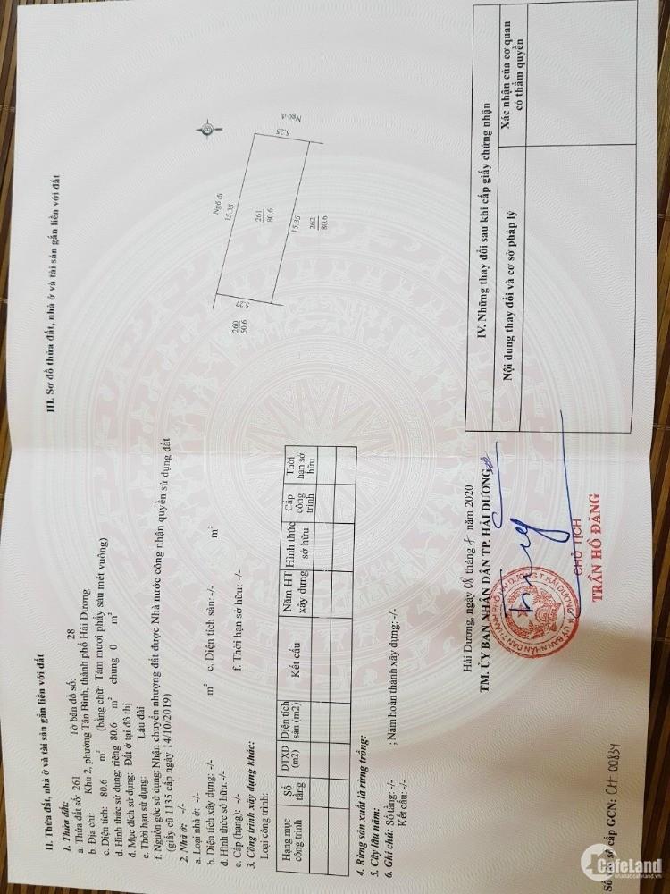 Bán đất ngõ phố đường Nguyễn Văn Linh, TP HD, 80.6m2, lô góc, mt 5.25m, ngõ to,