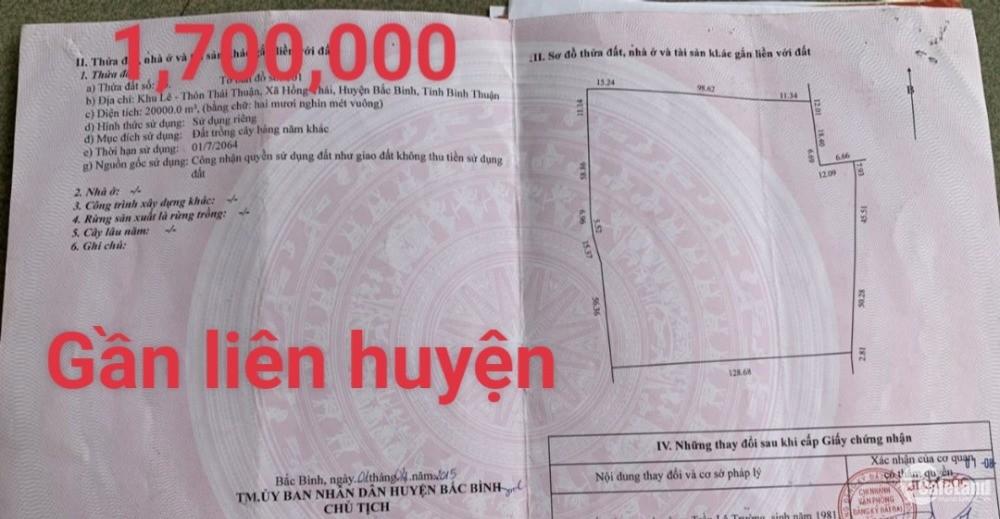 Bán 20,000m2 đất vườn hồng thái vuông đẹp đã gia hạn chỉ 1,7 tỷ Lh 0938677909