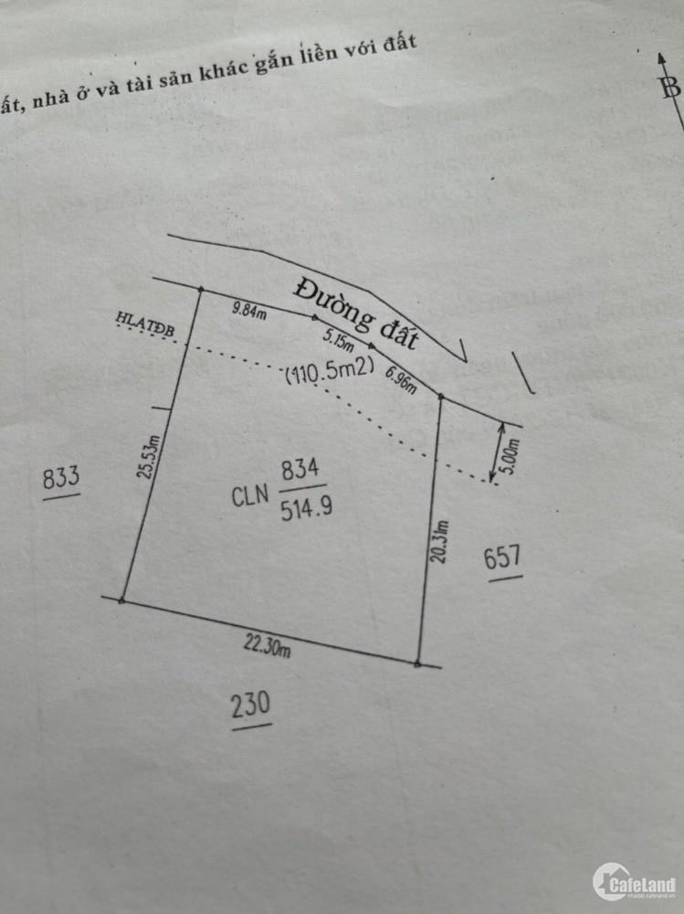 Đất Vĩnh Tân trên đường trường lái dt 515m2 giá 3.1tỉ  có 240m thổ cư