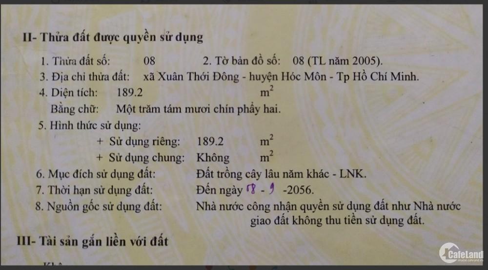 Bán đất MT đường Xuân Thới 23,189m² , Huyện Hóc Môn, SHR, giá 1 tỷ.