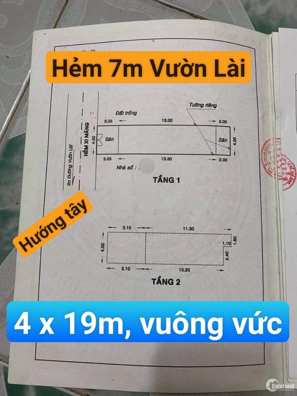 Nhà HXH Vườn Lài - 4 x 20m vuông vức - 7 tỷ  - ngon quá