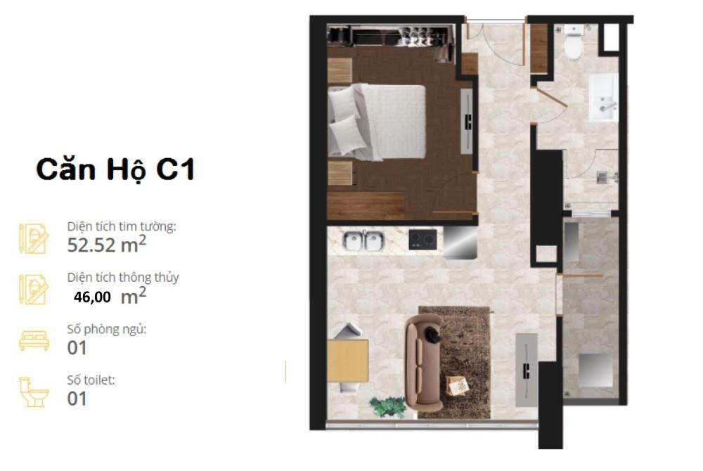 Căn hộ chuẩn Nhật Bản 46m 1 phòng ngủ, rất dễ cho thuê