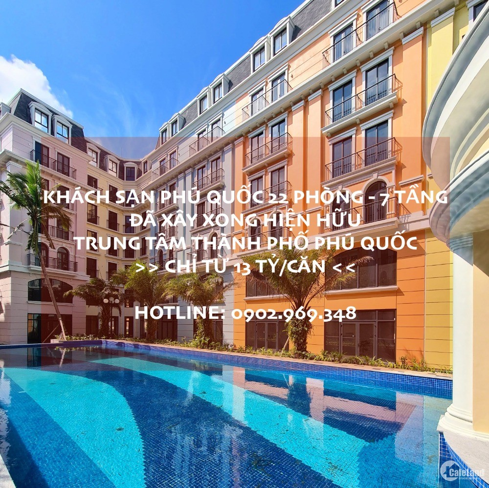 Shophouse Phú Quốc chỉ 12.7 tỷ đang bàn giao nhà 110m2 7 tầng - 22 phòng