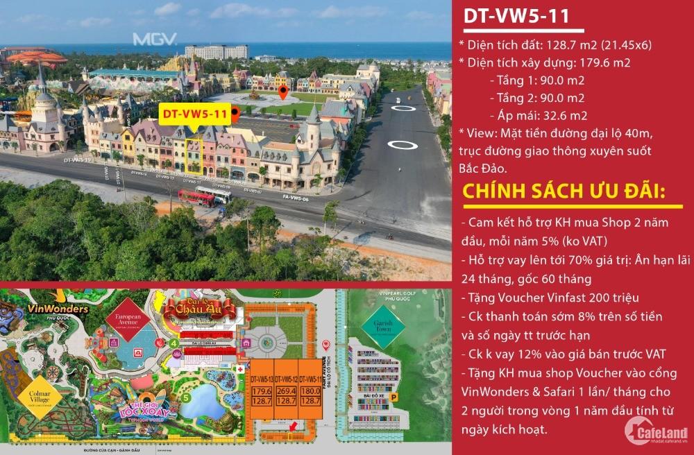 Cần bán căn shop 2 mặt tiền ngay cửa ngõ công viên giải trí Vinwonders Phú Quốc