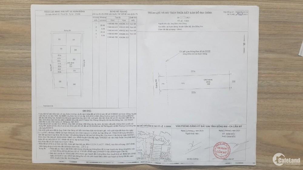 Bán đất đường Tỉnh Lộ 328, Cẩm Mỹ, (5mx25m), thổ cư 100%, SHR