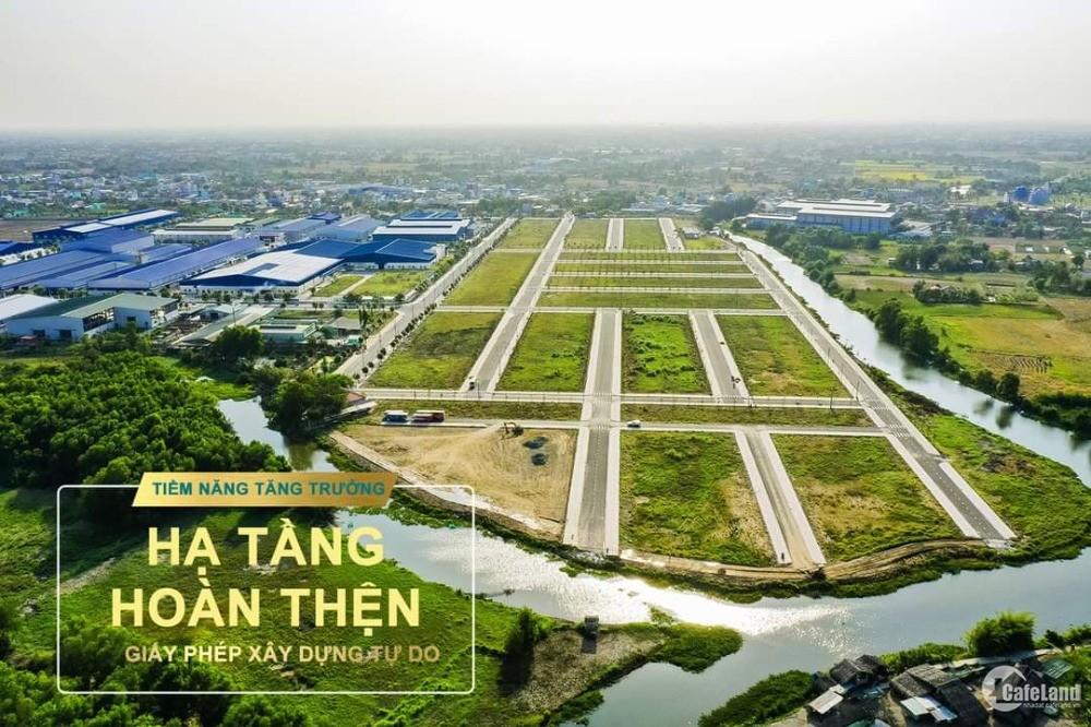 Đất sổ đỏ 3 mặt sông trong KCN dân cư hiện hữu cách Bình Chánh 500m