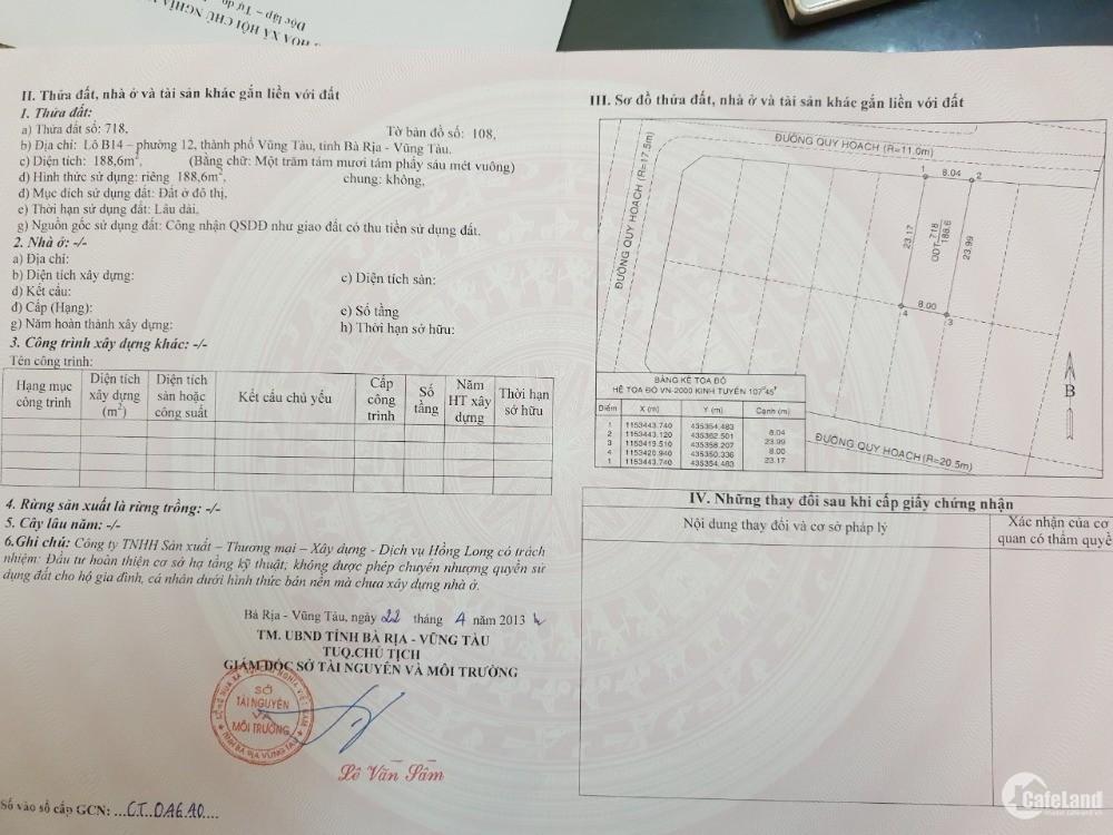 Chính chủ bán nền đất villa 188 m2 ở phường 12 TP Vũng Tàu giá 15 triệu/m2